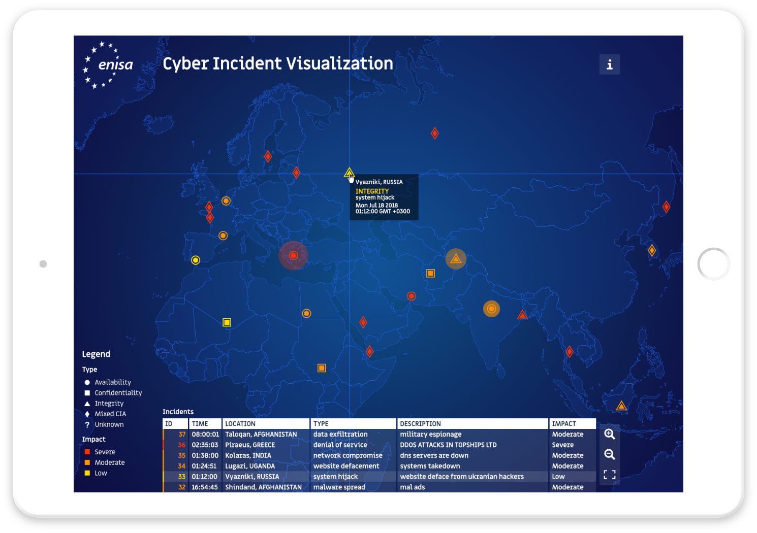 Cyber incident visualization